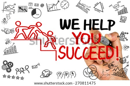 we help you succeed concept hand drawing on whiteboard - stock photo
