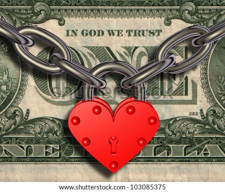 We love money - heart lock and money - stock photo