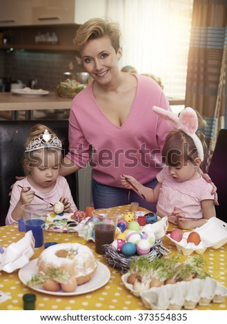 We love preparing Easter together  - stock photo