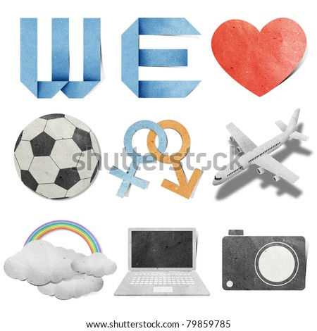 we love tag recycled paper craft stick on white background - stock photo