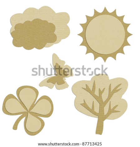 We love tag recycled paper craft stick on white background Data source: NASA - stock photo