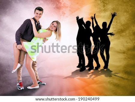 We love to dance all time. Dancing teen couple on bright grunge background - stock photo