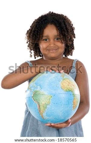 We must protect our planet. Beautiful girl on a white background to land in their hands