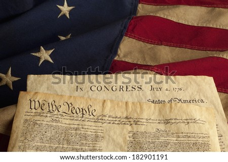 We the People are the opening words of the preamble to the Constitution of the United States of America and the Declaration of Independence dated July 4, 1776.  - stock photo