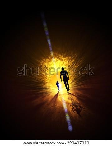 we walk into the light  - stock photo