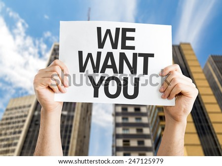 We Want You card with a urban background - stock photo