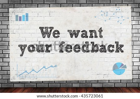 We want your feedback on brick wall and poster concept - stock photo