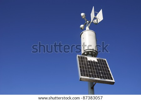 Weahter station for measuring wind velocity - stock photo