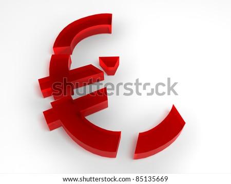 Weak fallen Euro currency - stock photo