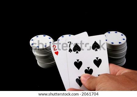 weak hand texas hold'em hand - stock photo
