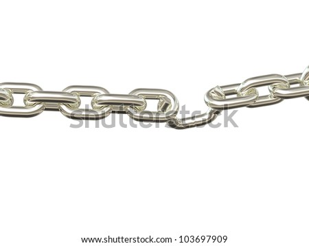 Weak Link - Silver. Chain pulled to the breaking point. Isolated. - stock photo