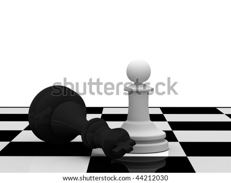 Weak won strong. Good won evil. White pawn won black king on chessboard. High quality 3d render. - stock photo