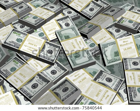 Wealth. Background from packs of dollar. 3d render. - stock photo