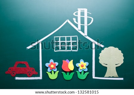 Wealth concept. Money sign on drawing house on blackboard. Handmade car, tree and flowers as decoration. - stock photo