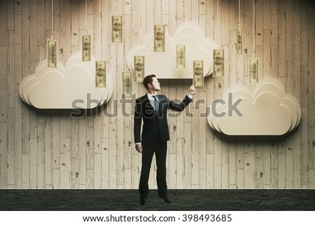 Wealth concept with abstract money rain and businessman touching banknotes. 3D Rendering