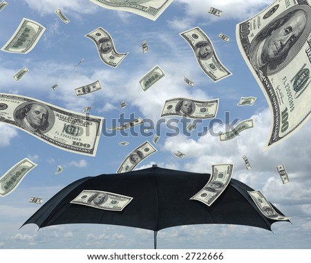 Wealth idea in a metaphor of rain of dollars. Bill of 100 dollars only. - stock photo