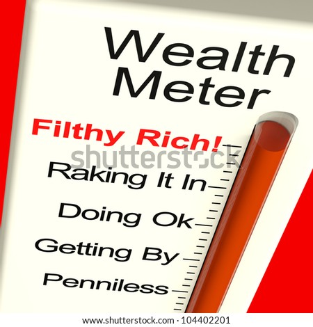 Wealth Meter Shows Money And Being Rich