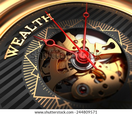 Wealth on Black-Golden Watch Face with Closeup View of Watch Mechanism.  - stock photo