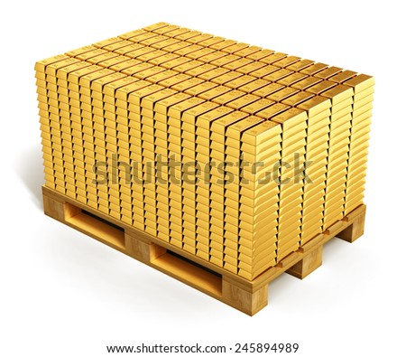 Wealth, richness, business financial success, banking development and growth and money accounting concept: stacks of gold ingots or golden bars or bullions on wooden shipping pallet isolated on white - stock photo