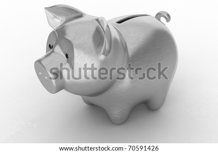 Wealth: Silver piggy bank over white background - stock photo