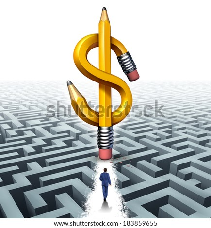 Wealth success solutions business concept as a businessman walking over a maze with a cleared path made by an eraser from a dollar shaped pencil as a metaphor for financial freedom guidance. - stock photo