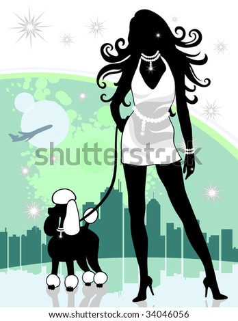 Wealthy lady walking dog with city and airplane in background. Created in shades of green, black and white.