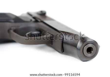 Weapon - Gun closeup on white background
