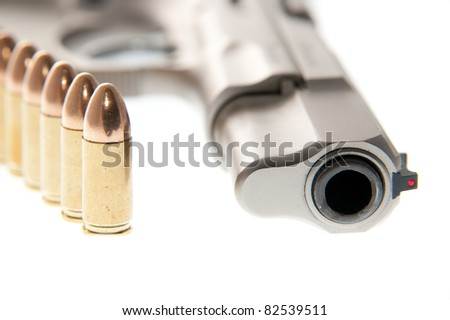 Weapon - Gun isolated on white background - stock photo