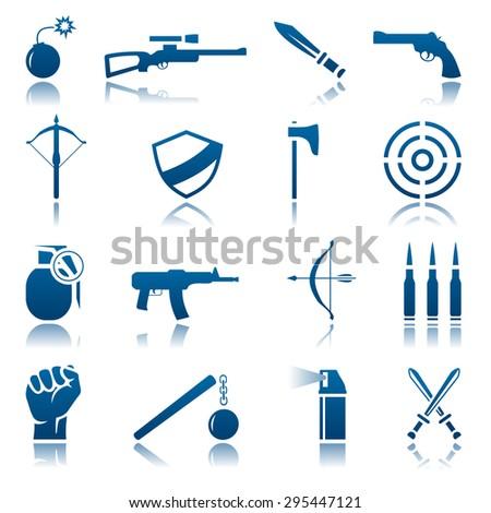 Weapon icon set - stock photo