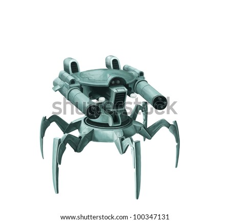 weapon of the future at six legs with two guns on a rotating basis - stock photo