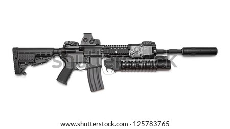Weapon Series. AR-15 (M4A1) carbine with holographic sight, M203 grenade launcher and sound suppressor. Isolated on a white background. Right side view. Studio shot - stock photo