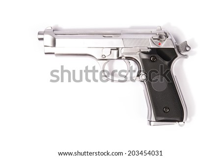 Weapon series. Modern U.S. Army handgun M9 close-up. Isolated on a white background. Left side view. Studio shot. - stock photo