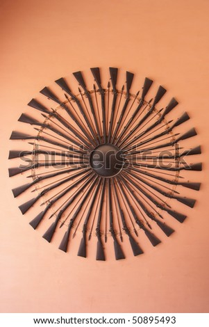 Weapons in City Palace museum, Jaipur, India - stock photo