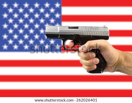 weapons in USA in concept of legal or illegal - stock photo