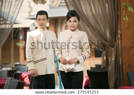 Wear clothing occupation Chinese waiters - stock photo