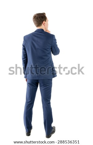 Wear view of businessman thinking on white background