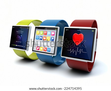 wearable device technology concept: collection of color digital smart watches with apps on the screen isolated on white background