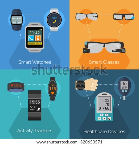 Wearable technology design concept set with smart watches glasses activity trackers flat icons isolated  illustration