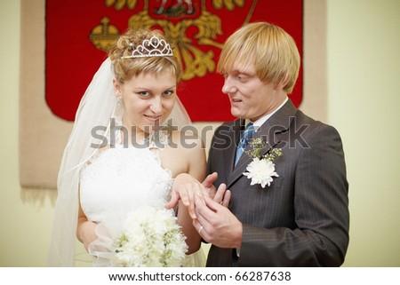 Wearing a wedding ring - stock photo