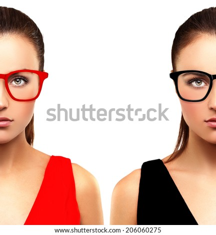 Wearing colored  glasses - stock photo