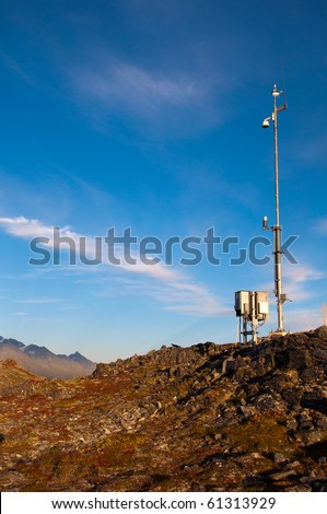 Weather camera station located on top of ridge - stock photo