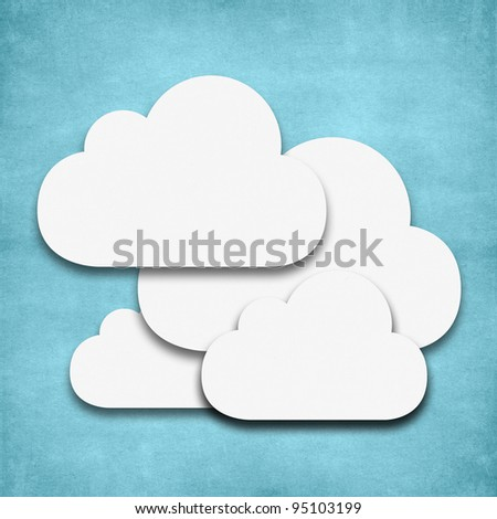 Weather cloud day icon grunge recycled papercraft - stock photo