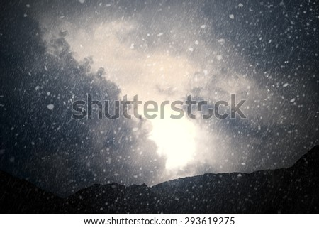 Weather - Dramatic sky with rain and snow - computer generated image - stock photo