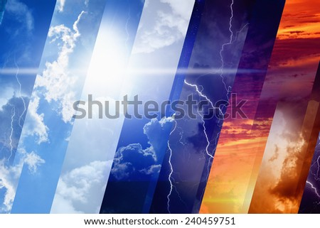 Weather forecast concept background - variety weather conditions, bright sun and blue sky; dark stormy sky with lightnings; sunset and night - stock photo