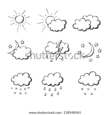 weather hand drawn icon set. Raster copy of vector illustration