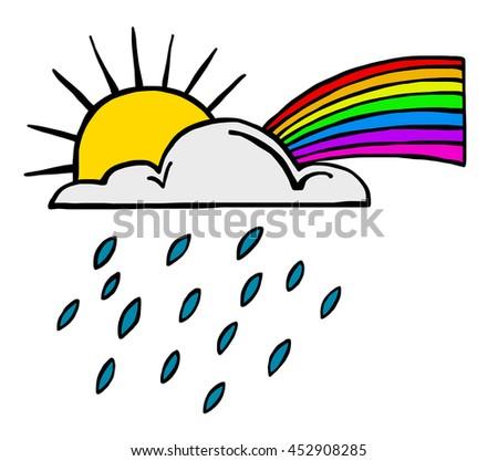 Weather Icon Illustrating Sun, Rain and a Rainbow - stock photo