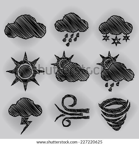 Weather Icon Pen Shading Effect Sets