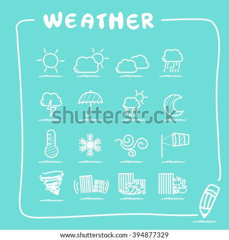 Weather icon set collection - doodle Series - stock photo