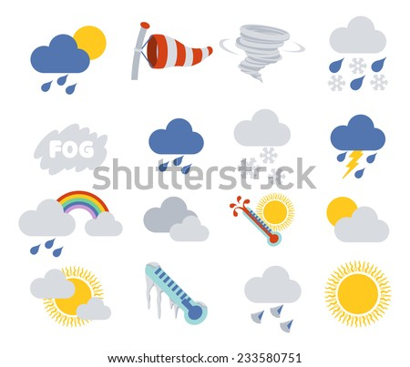 Weather icon set for weather forecasting apps or similar in modern flat colour style - stock photo