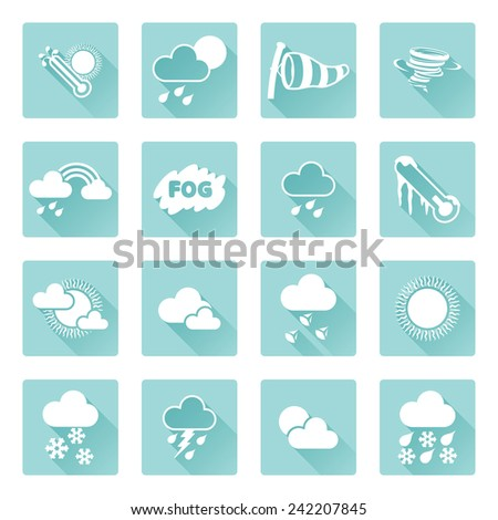 Weather icon set for weather forecasting apps or similar in modern